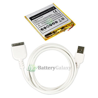 BATTERY+Rapid Fast USB Data Sync Cable for Apple iPod Nano 3rd Gen 4GB 8GB 16GB