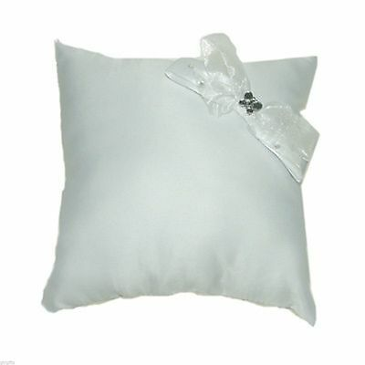 White Ring Cushion with Crystals & Crystal Butterfly Decoration XNB001