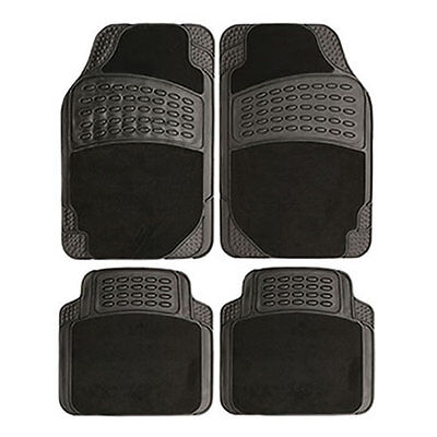 4Pc Heavy Duty Universal Black Rubber & Carpet Car Mat Set Van Mats Non Slip