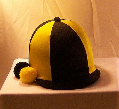 Riding Hat Cover - Black & Yellow