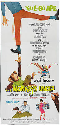ANNETTE FUNICELLO/BEACH BOYS orig large 3-sheet movie poster THE MONKEY'S UNCLE