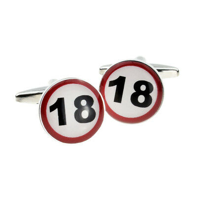 18 MPH Road Sign Birthday Age Cufflinks in a Cufflink Box X2BOC059