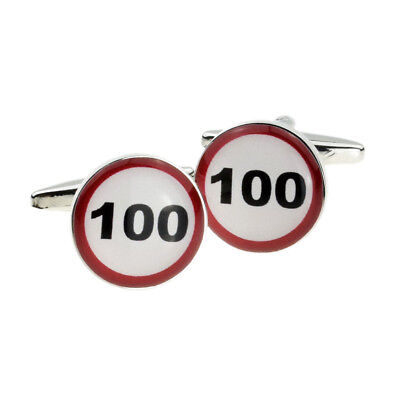 100 MPH Road Sign Birthday Age Cufflinks in a Cufflink Box X2BOC064