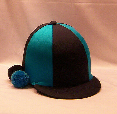Riding Hat Cover - Navy Blue & Turquoise