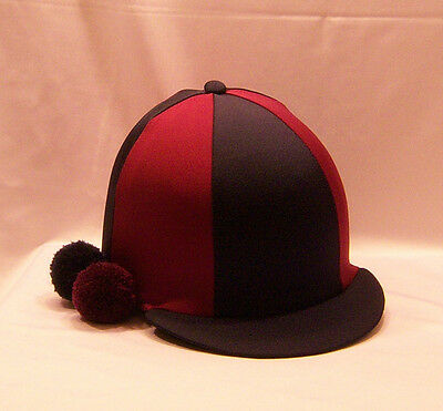 Riding Hat Cover - Navy & Burgundy