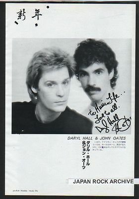 '81 Hall & Oates JAPAN mag photo pinup / mini poster w/message /clipping cutting