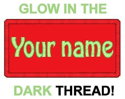 """2 Custom Embroidered Name Patch Mortorcycle Biker Tag Badge GLOW IN THE DARK 4"""""""