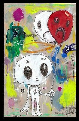 GUS FINK art ORIGINAL painting folk modern outsider lowbrow abstract ALONE ALIEN