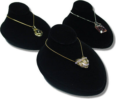 3Pc SET BLACK VELVET JEWELRY DISPLAY LAY DOWN BUST CHAIN NECKLACE 3 in H JA21B3