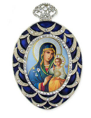 Russian Icon Pendant Madonna & Child jeweled chain WOW Christ Mary Eternal Bloom
