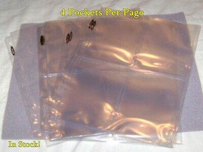 """10 4-POCKET 3.5""""x5"""" COUPON PAGES HOLDER SHEETS NEW! FOR 3-RING ALBUM BINDER"""