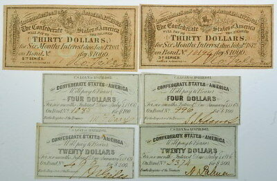 Confederate States Of America Bond Notes $30 $20 $4