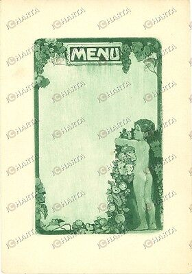 1910 ca MENU' non compilato ILLUSTRATO con putto e viti