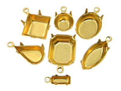 High Quality Brass One Ring Settings 36 Pieces - Choose Size & Shape
