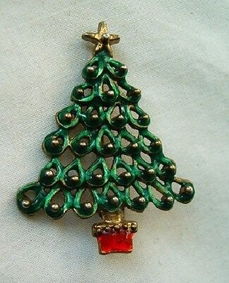 Old Vintage Christmas tree brooch fancy green and red crystal Austria 1950 s