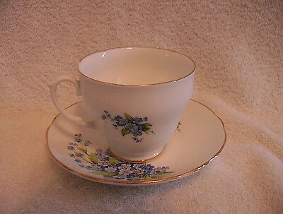 Set of Sandford Tea Cup & Saucer Forget Me Not Fine Bone China Collectible 22KT