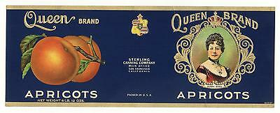 *Original* QUEEN EMMA Embossed HAWAIIAN ROYALTY Apricot Can Label NOT A COPY!