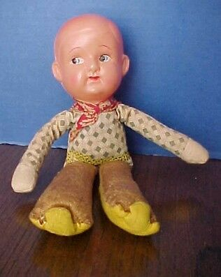 1940s CELLULOID HEAD COWBOY DOLL- STRAW STUFFED