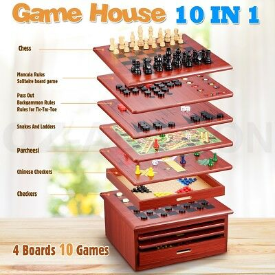 10in1 Wooden Chess Board Games House Set Toy Backgammon Checkers Snakes Ladders