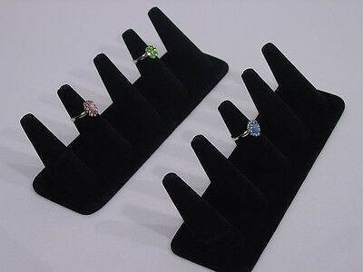 2Pc SET 5 FINGER RING STAND BLACK VELVET JEWELRY DISPLAY STAND TOP CASE GD5B2