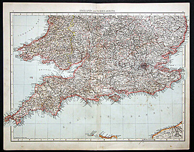 1895 Times Atlas map - England and Wales South - First edition