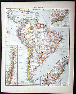 1895 Times Atlas map -  South America - First edition