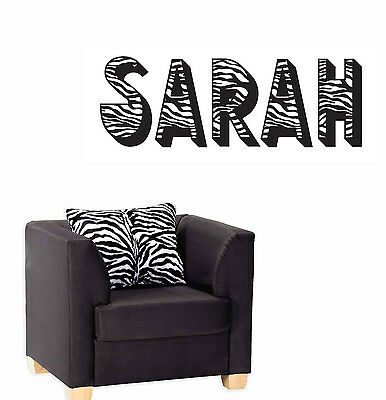 ZEBRA Print Animal Pattern Personalized Letters Custom Vinyl Wall Decal Sticker