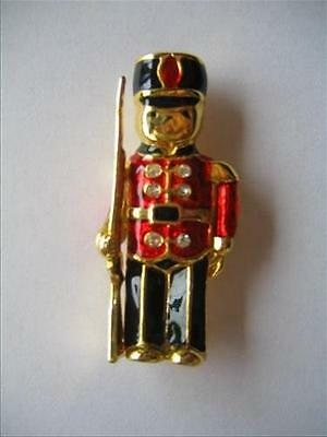 Vintage Toy Soldier Enamelled Brooch with Rhinestones