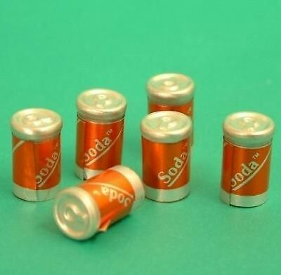 Dolls House Miniatures: Set of Six Soda Cans 12th scale