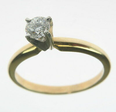 Ladies 18K Yellow Gold 1/3 CT Round Diamond Engagement Solitaire Estate Ring