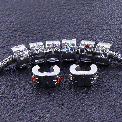 Inlay Crystal Satr Silver Plated Stopper Clip/Clasp/Lock European Charm Beads