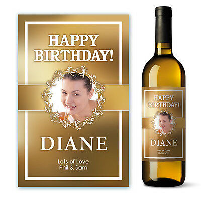 Happy Birthday Wine Label Personalised Gift with Photo
