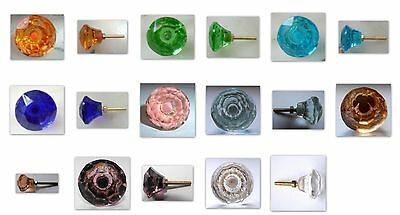 tiny cut/glass drawer cupboard pulls doorknobs 22mm various colours Free Postage