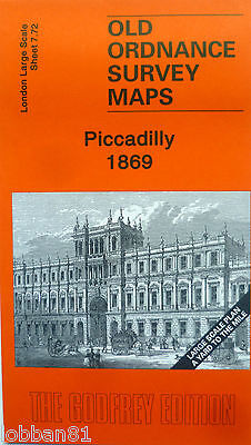 Old Ordnance Survey Map Piccadilly  London 1869 S7.72 Large Scale Special Offer