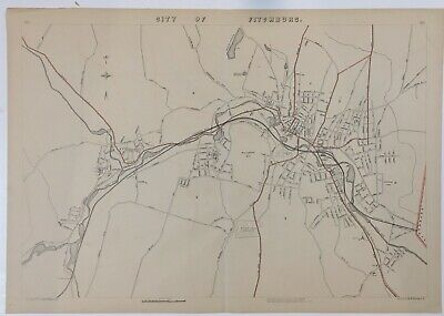 1891 Original Map City of Fitchburg Mass, MA Old Original Nashua River