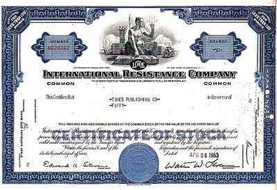 International Resistance Company 1963 Stock Certificate
