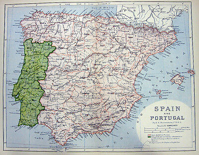 SPAIN & PORTUGAL ~ Old 1882 Color Engraving Map Print
