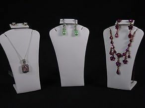 """5.5""""H 3Pcs SET WHITE LEATHER EARRING PENDANT JEWELRY DISPLAY STAND CASE RD14W3"""