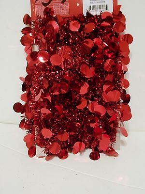 9 Ft Red Foil Tinsel Garland Valentine'd Day Christmas Decoration Patriotic 4Th