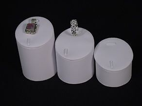 3Pc Set WHITE LEATHERETTE PENDANT RING JEWELRY DISPLAY STAND RISER PD3CW1