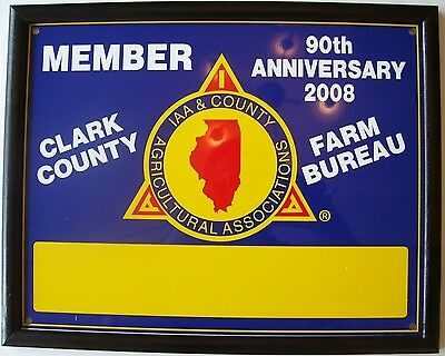 FARM BUREAU: 90th Anniversary Illinois Agircultural Assoc Clark County RARE SIGN