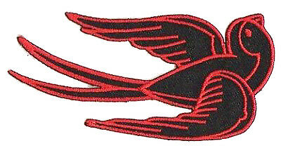 patch 1236- Ecusson patche thermocollant hirondelle punk tattoo rockabilly