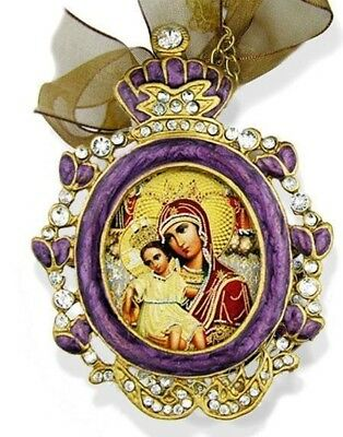 Jewel Russian Icon Pendant Purple Madonna & Child Christ Medal Chain Bow Gift