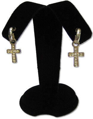 "3.5H"" Black Earring Velvet Jewelry Display Top Stand, Post Hooks Clip A2B1"