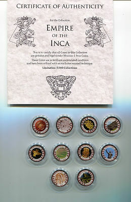 MEXICO - 10 pcs COLORIZED coins EMPIRE of the INCA