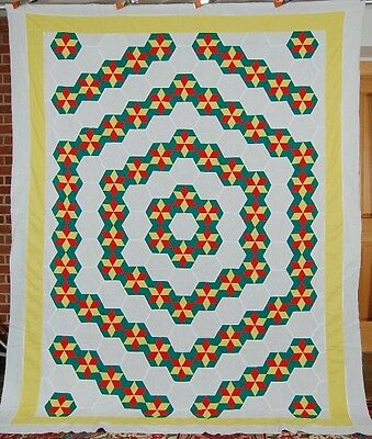 30's Concentric Hexagons & Stars Antique Quilt Top ~WOW