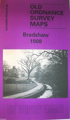 Old Ordnance Survey Map Bradshaw near Bolton Lancashire 1908 Godfrey Edition