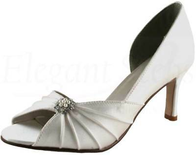 Ivory Satin Bridal Bridesmaid Wedding Shoe Sizes 2-8 Pure /& Precious OPAL