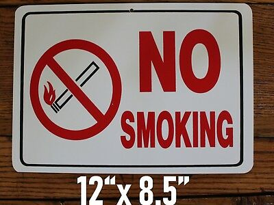 No Smoking Romark style Plastic Plaque Sign Adhesive Strip on Back