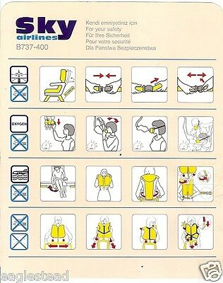 Safety Card - Sky Airlines - B737 400 (Turkey) (S3113)